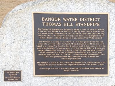 bangor water district thomas hill standpipe bronze tablet