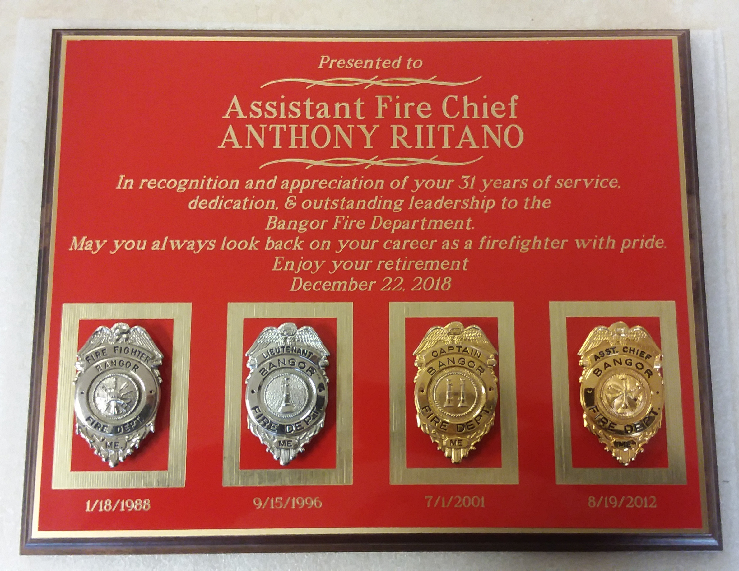 custom assistant fire chief plaque