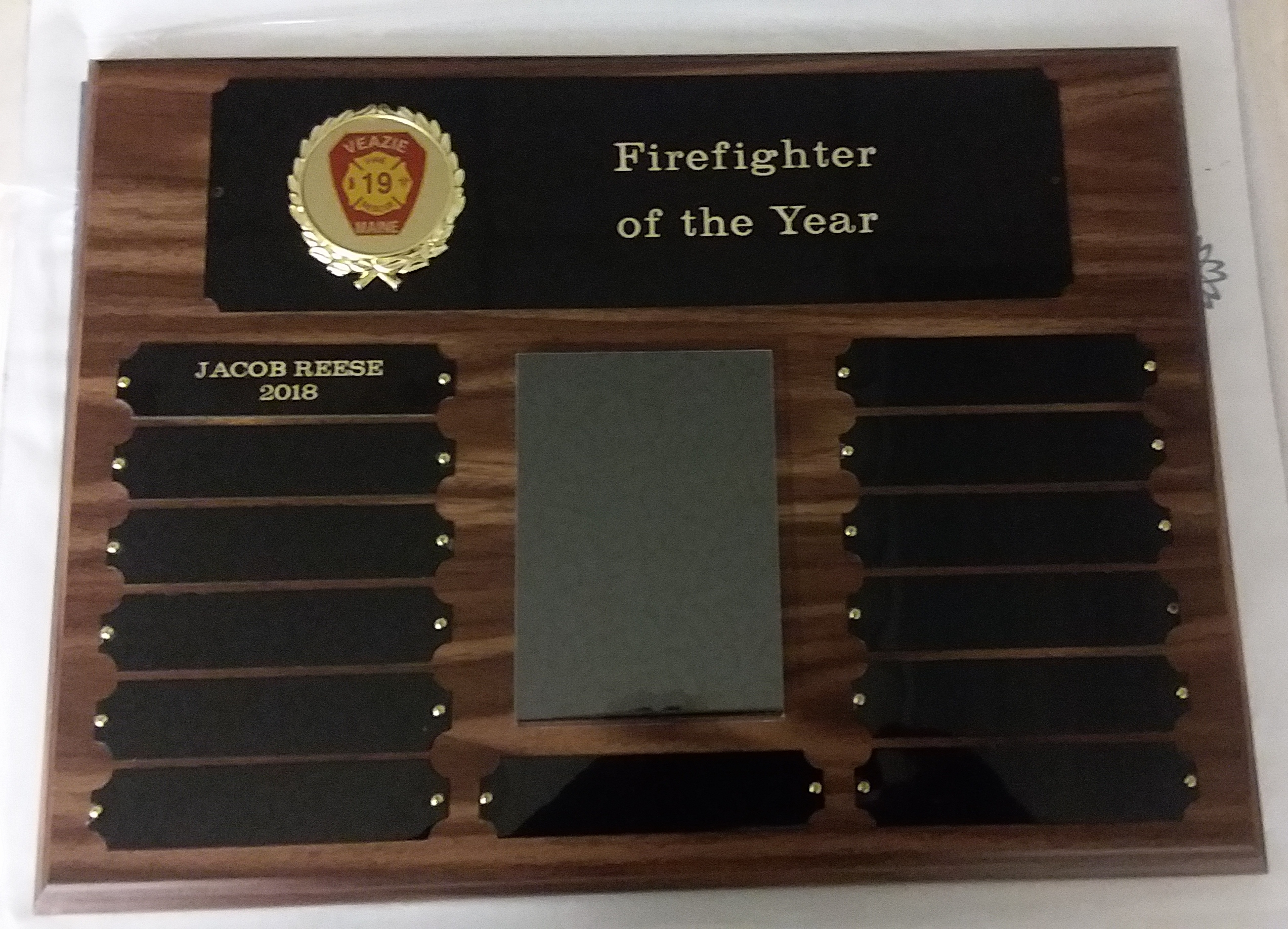 customized firefighter of the year plaque