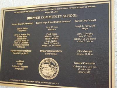brewer community school bronze tablet