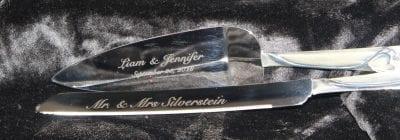 custom engraved wedding cake knife and server