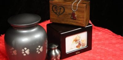 group of pet urns and keepsakes