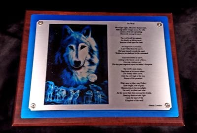 custom personalized wolf poem plaque