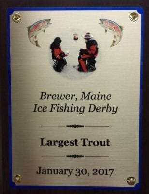 brewer maine ice fishing derby custom plaque